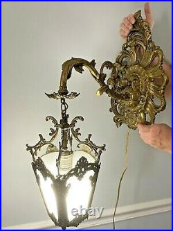 Vintage Large Ornate Metal Wall Hanging Light Sconce Fixture Mid Century