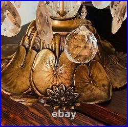 Vintage Lily Pad Lamp 3 Tier Prism Ornate Base Sculptured Bases RARE 2, PAIR SET