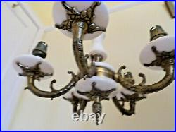 Vintage Marble & Brass ceiling light fitting 5 arm ornate brass work REWIRED