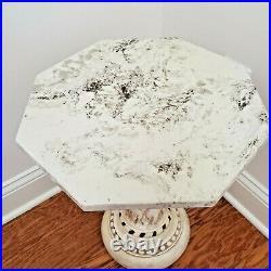 Vintage Marble Side End Table With Ornate Cherub Base Greek Roman 1967 18 Tall