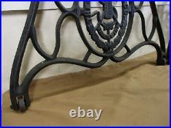 Vintage ORNATE Singer Sewing Machine Cast Iron Treadle Base Legs Set on Wheels