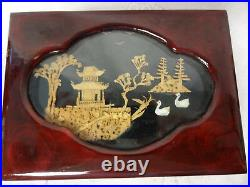 Vintage Old Chinese Ornate Lacquered Wood Jewelry Box Cabinet