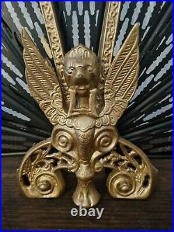 Vintage Ornate Black and Gold Brass Peacock Folding Screen Griffin base design 8