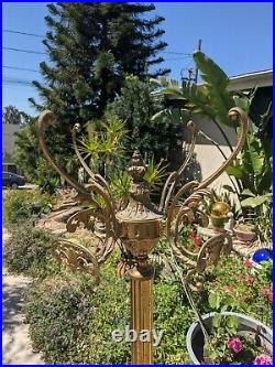 Vintage Ornate Brass Hall Tree Standing Coat Rack