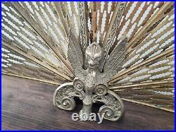 Vintage Ornate Brass Peacock Fireplace Fan Folding Screen Griffin base design 3
