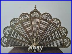 Vintage Ornate Brass Peacock Fireplace Fan Folding Screen Griffin base design 6