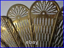 Vintage Ornate Brass Peacock Fireplace Fan Folding Screen Griffin base design 7