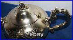 Vintage Ornate Carved 4 Piece EPNS Silver Plated Tea Set FREE Postage PL1484