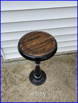 Vintage Ornate Cast-Iron Soda Fountain Ice Cream Parlor Stool Exotic Wood Seat