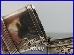 Vintage Ornate Flowers Solid Sterling Silver Match Safe / Vesta / Case, 2 3/4 H
