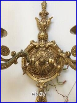 Vintage Ornate French Italian Style Brass Gold Candle Sconces Pair Lights 2