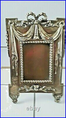 Vintage Ornate French heavy old brass photo frame, swags & tails decoration 12