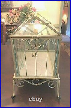 Vintage Ornate Glass and Iron Terrarium and Separate Footed Base