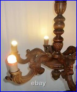 Vintage Ornate Hand Carved wood Chandelier 6 lights arms Ceiling Light lamp