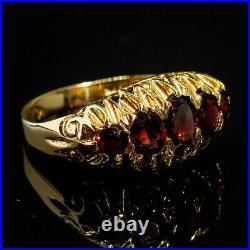 Vintage Ornate Red Garnet 5 Stone 9ct Gold Ring c1970
