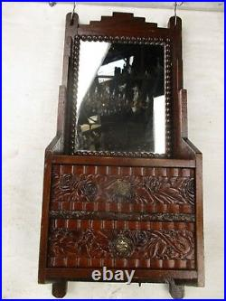 Vintage Ornate Wooden Kitchen Apothecary Kitchen Wall Cabinet Wood Hobnails