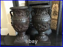 Vintage Pair Of Huge Ornate Decorative Urns