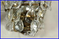 Vintage Pair of Brass Glass Crystal Wall Lights Sconce Chandelier Ornate Crown