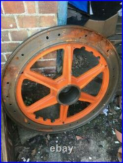 Vintage Pair of Ornate Cast Iron Wheels from Rolls Royce Eurofighter Tooling