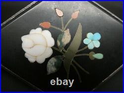 Vintage Pietra Dura Rose Flower Bouquet Large Ornate Sterling Brooch Pendant