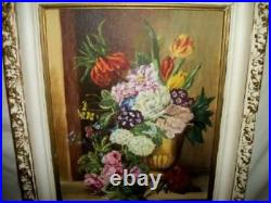 Vintage Roses Floral Oil Painting Ornate Frame Study Flanders School Stunning