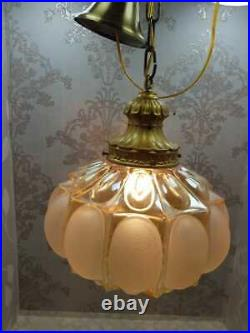 Vintage Rosy White Blown Glass Globe Gilded Brass Ornate Chandelier Fixture Lamp