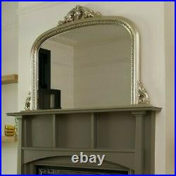 Vintage Style Arched Fireplace/Mantle Wall Mirror Antique Silver Champagne Frame