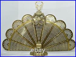 Vintage Victorian Brass Fireplace Fan Peacock Folding Screen Ornate Art Deco