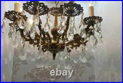 Vintage Victorian Ornate Classic Solid BRASS Crystal 10 Light CHANDELIER FIXTURE