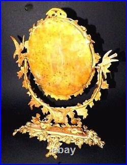 Vintage Victorian Ornate Gilt Brass Vanity Mirror