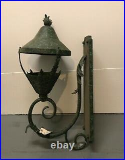 Vintage Wrought Iron Hanging Light Ornate Gothic Iron Antique 30 Tall