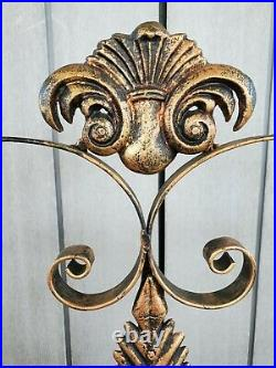 Vintage Wrought Iron Ornate Bronze And Black Fireplace Screen Guard Home Decor