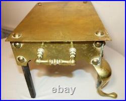 Vintage antique ornate English thick brass iron footman stool fireplace bench