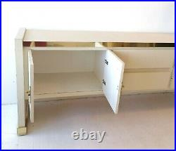 Vintage cream & gold sideboard with ornate brass handles, mid century 60s 70s