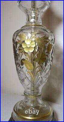 Vintage cut clear glass brass gold gilt Bohemian Czech table floral lamp ornate