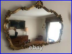 Vintage gold ornate large wide mantlepiece wall mirror