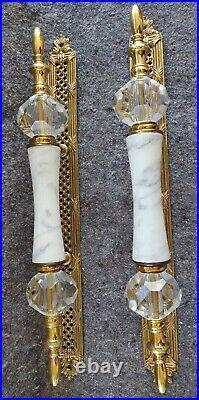 Vintage ornate Victorian cast Brass Marble & Crystal Grand Entryway door handles