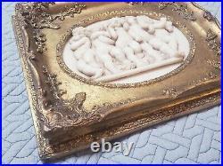 Vintage ornate wood framed resin cast marble Plaque Musical Cherubs figural