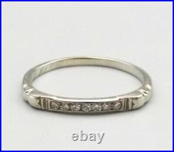 Vtg 18K White Gold Diamond Ring Sz 7.25 Ornate Antique Art Deco 1930s
