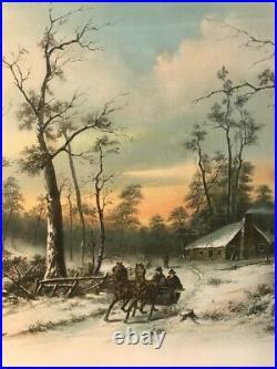 Vtg Antique ORNATE Frame 1895 Print A WINTER IN NEW ENGLAND Horse Sleigh