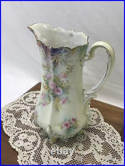 Vtg Antique RS Prussia Water Pitcher Hand Painted Ornate Victorian Ewer Tankard