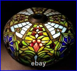 Vtg Antique Tiffany Style Stained Leaded Glass Light Lamp Shade Handmade Ornate