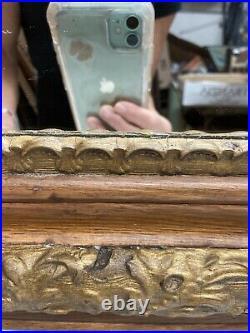 Vtg Antique Victorian Oak ORNATE Gold Painted Chalk Design Wood Framed Mirror