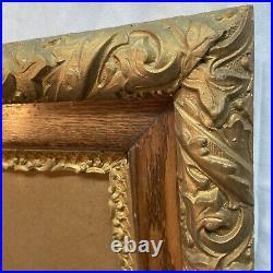 Vtg Antique Victorian Oak ORNATE Gold Painted Wood Frame Paint By Number Back