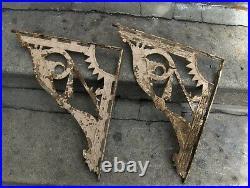 Vtg Architectural Big Cast Iron Ornate Shelf Brackets Eastlake 17 x 15 Sunrise