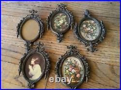 Vtg MIRROR PICTURE ART FRAME Shabby Chic Lot Ornate Wedding Mini Italy Painting