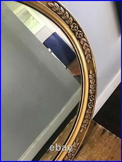 Vtg Mid Century Ornate Oval Gold Plastic Hollywood Regency Wall Mirror 25 X 21