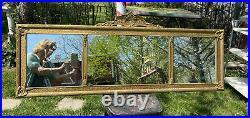 Vtg ORNATE 1920-30s BUFFET Triple Three Mirror Barbola Wood Gold Frame