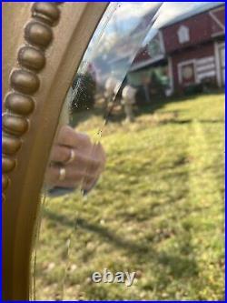 Vtg ORNATE 1930-40s Full Length LG OVAL Beveled Mirror Barbola Wood Gold Frame