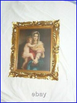 Vtg Ornate Carved Rococo Gold Gilt Italian Frame Antique Madonna Christ Print